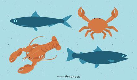 Vetor de animais de frutos do mar