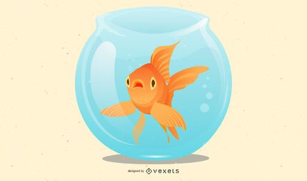 3D isolated goldfish on glass bowl