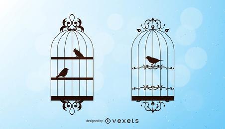 Vector de aves y jaulas