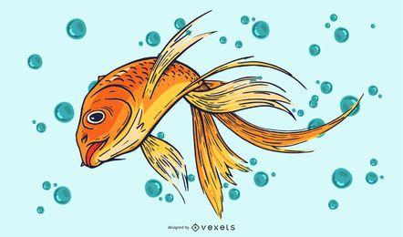 Ilustração de peixe dourado selvagem