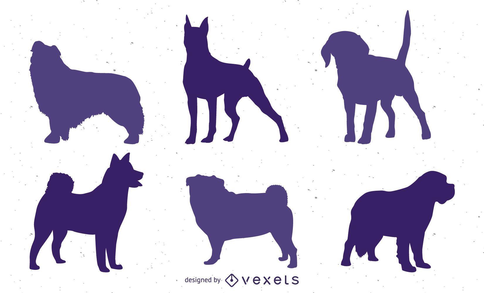 Conjunto de vectores de silueta de perro
