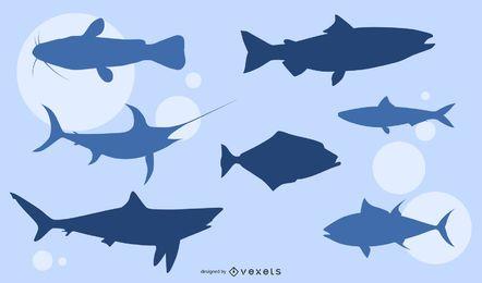 Vetor de silhuetas de peixe