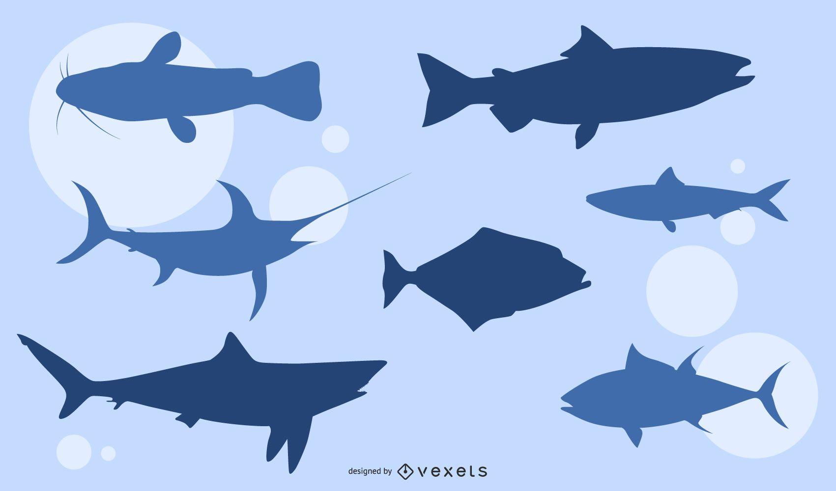 Paquete de silueta de animal pez