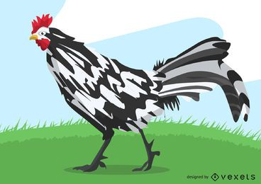 Isolated rooster illustration