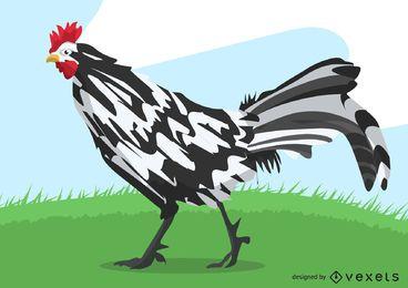 Rooster Brushstroke Style Illustration