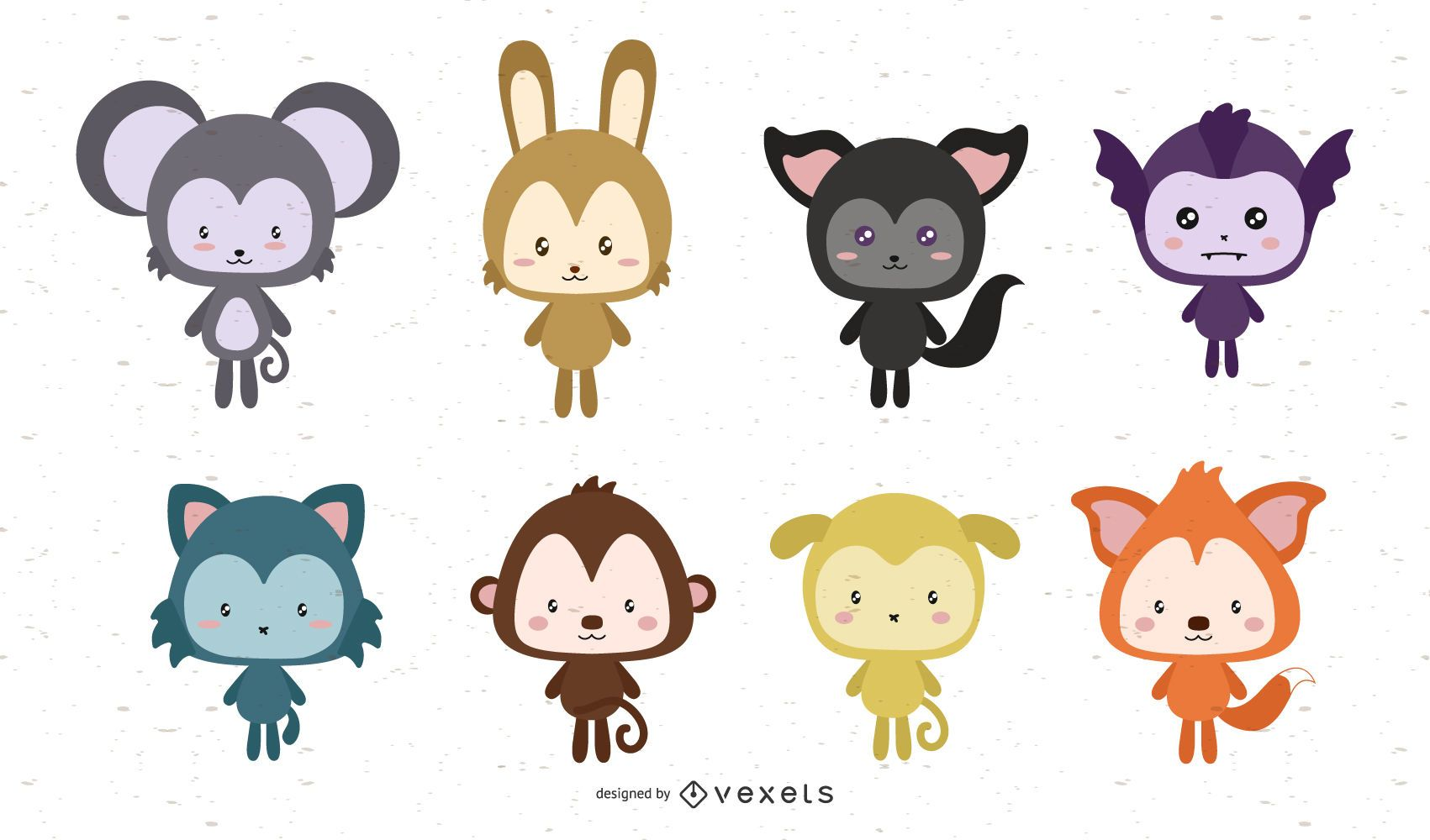 Lindo paquete de animales de dibujos animados