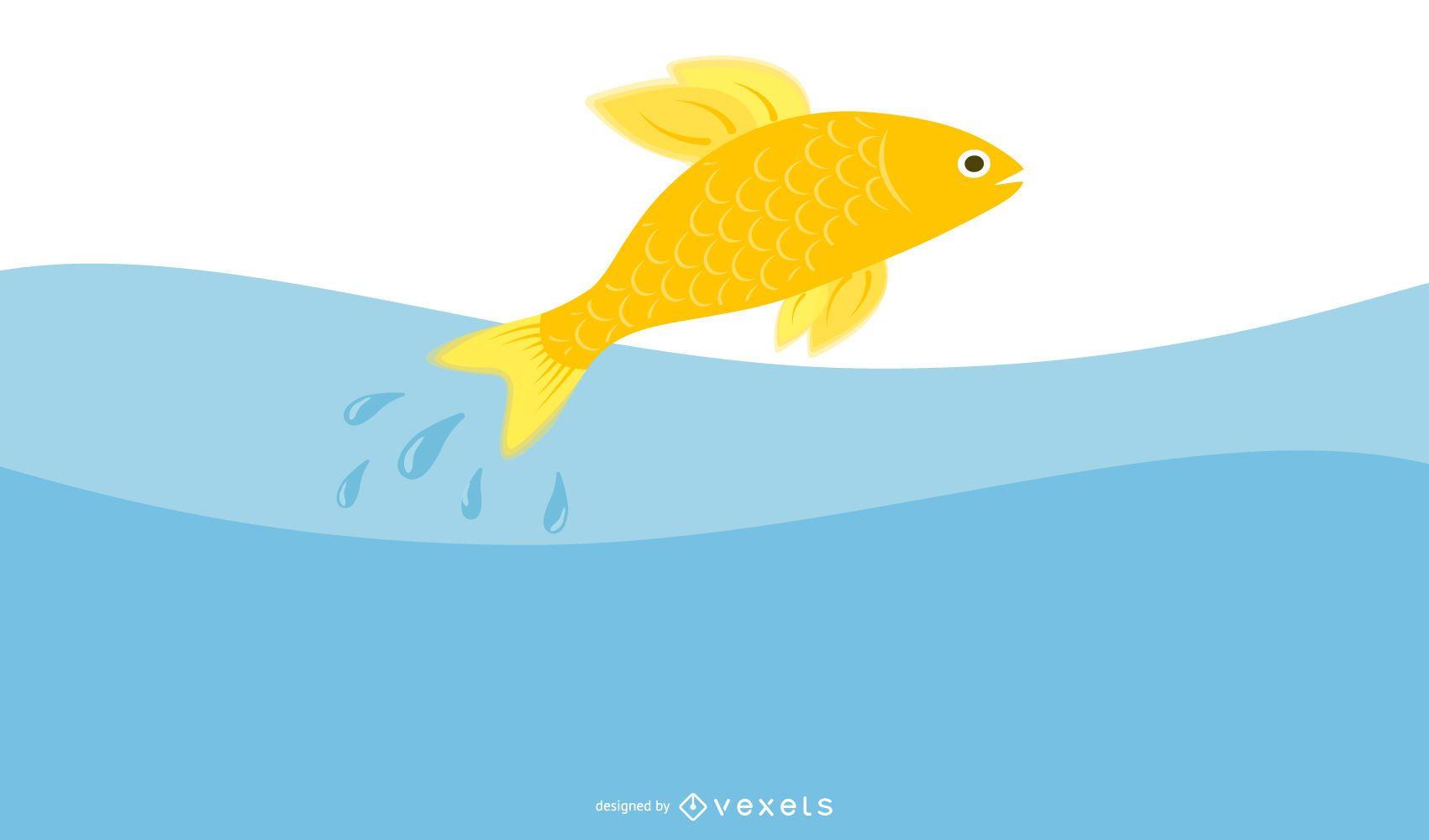 Flat Design Goldfish Illustration