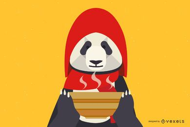 Panda With Soup Bowl Illustration Design