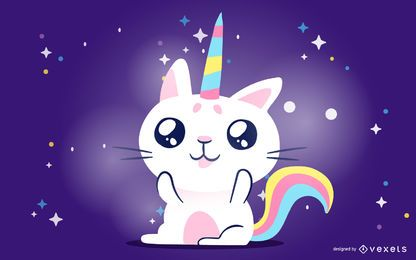 Gato Unicornio Kawaii
