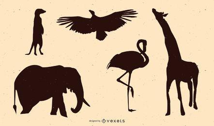 Silhueta de animais africanos