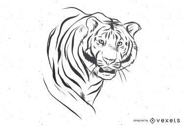 Vetor de tigre preto e branco