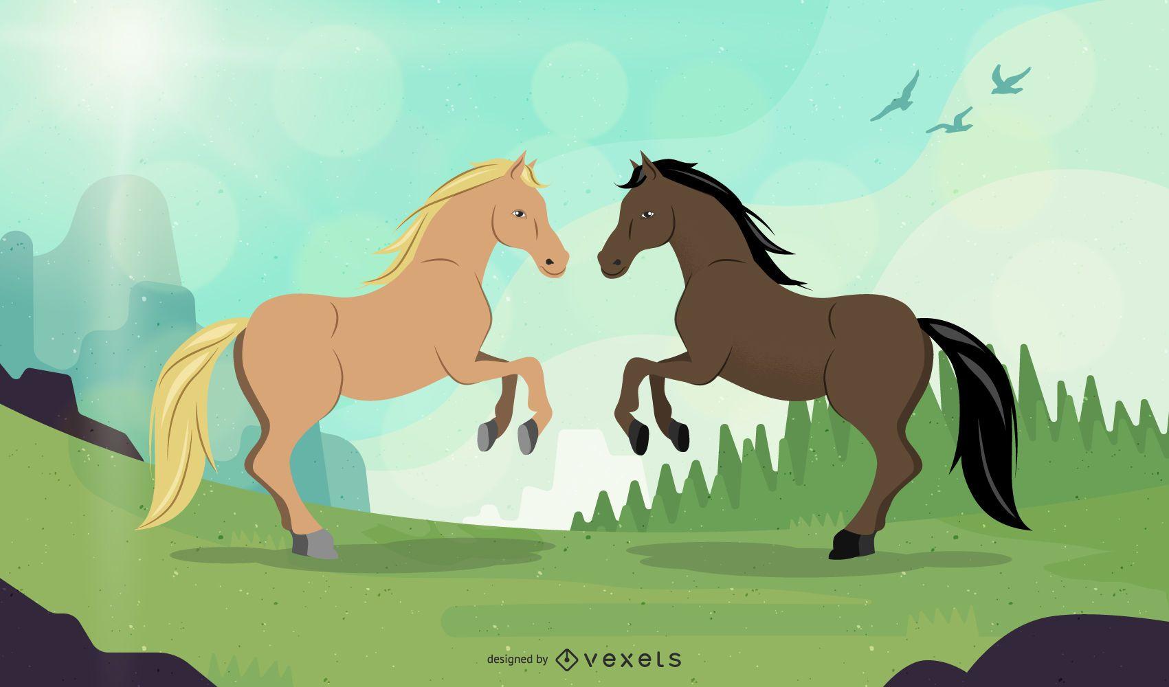 Horse Couple Illustration