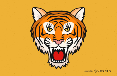 Verärgerter Tiger-Kopf-Vektor