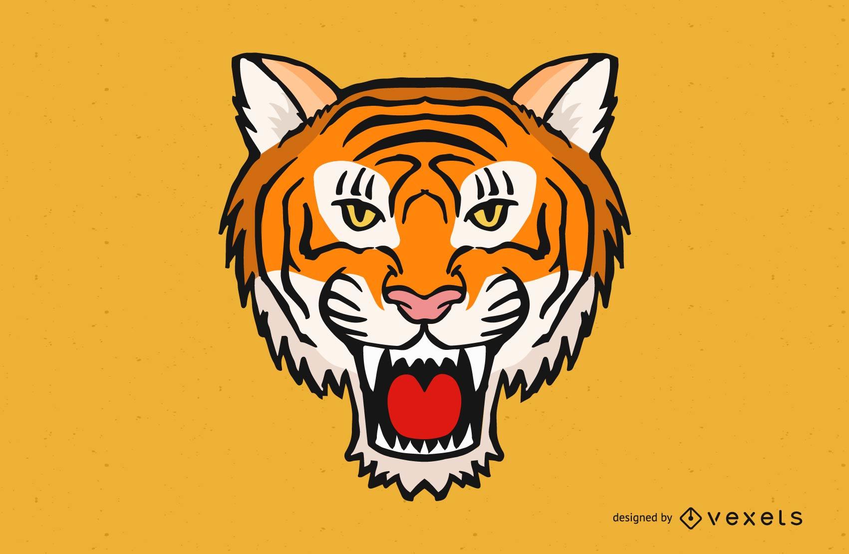Vetor de cabe?a de tigre zangado