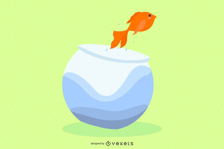 Out Of The Aquarium Fish Vector