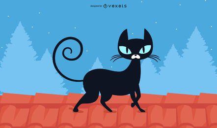 Design de papel de parede de gato preto