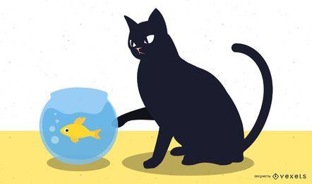 Gato y pez vector