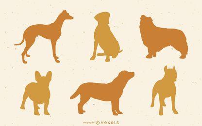 13 siluetas vector perro