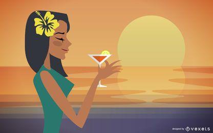 Fruta femenina de verano