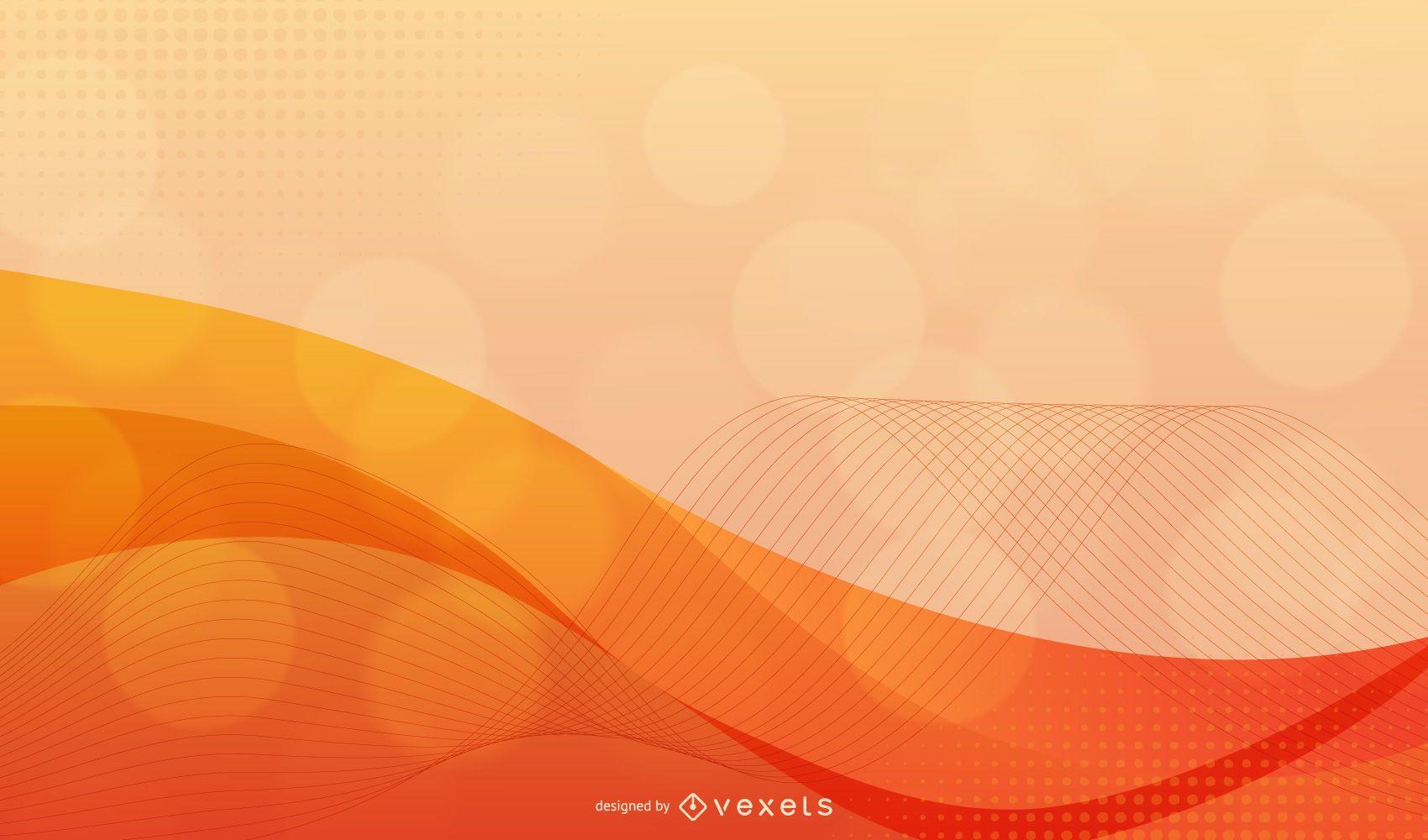 Fondo dinámico de onda roja naranja