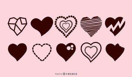 Colección de silueta de corazones