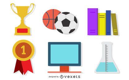 Iconos de material de vectores de enseñanza
