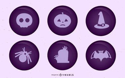 Round Halloween pins