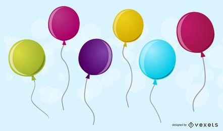 Sechs 3D-Ballons
