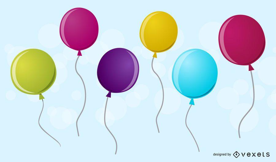 Six 3D balloons