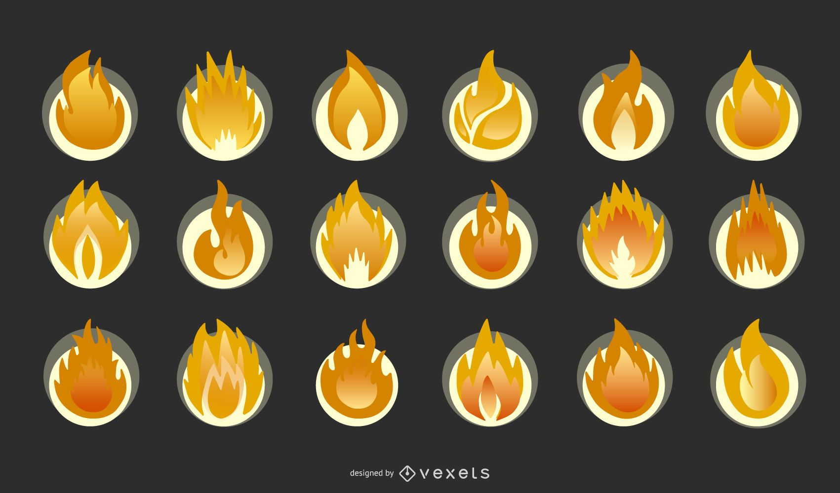 Colección de iconos de elementos de fuego
