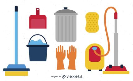 Conjunto de iconos de suministros de limpieza
