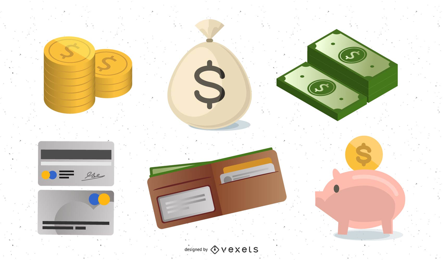 Money and gold coins icon set
