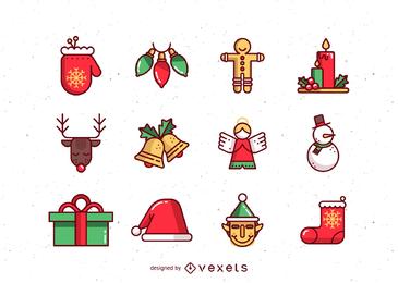 lindo vetor de ícones de Natal