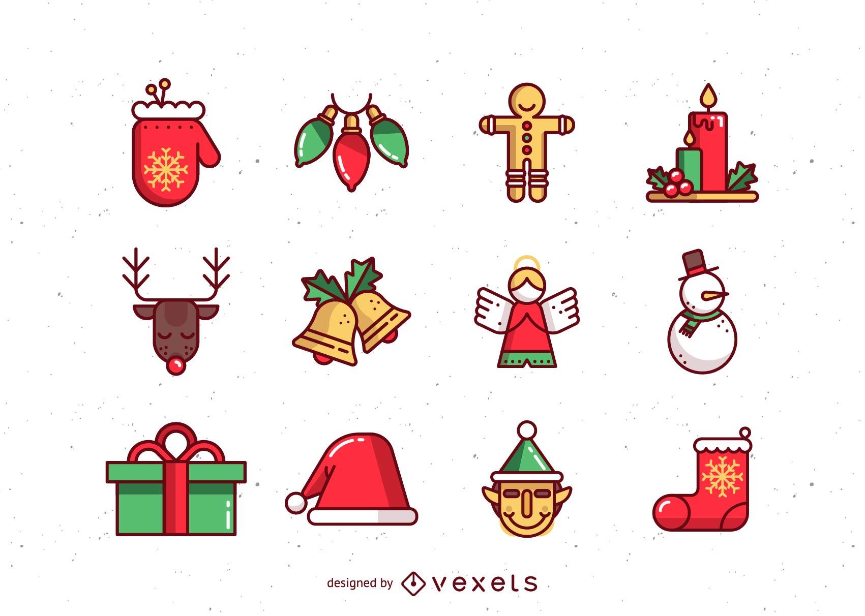 beautiful christmas icons vector