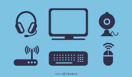 icono de computadora y accesorios