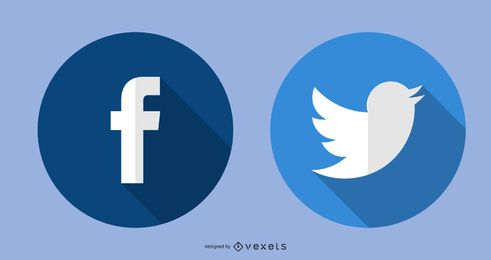 Ícones do Twitter do Facebook