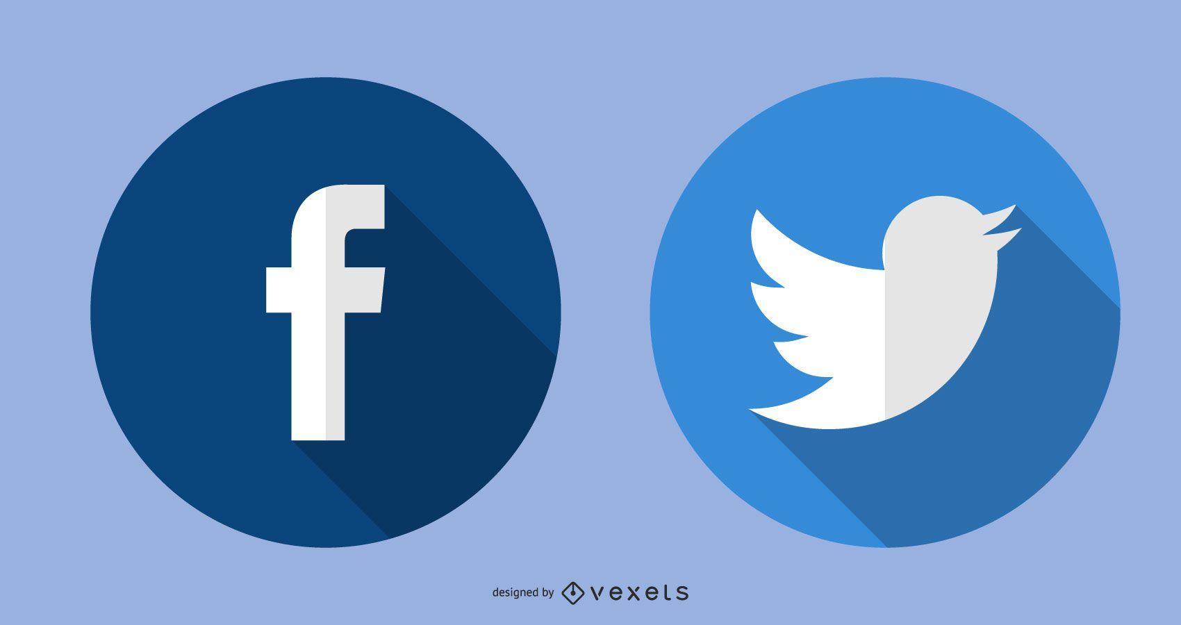 Iconos de Twitter de Facebook