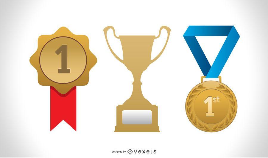 Conjunto de vectores de iconos de medalla de oro