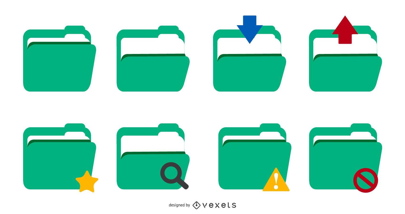 green folder icon vector