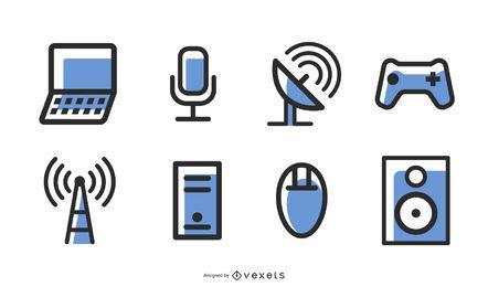 Blaue Technologieikone gehen