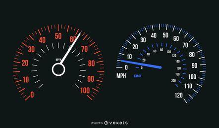 Auto Geschwindigkeitsmesser eingestellt