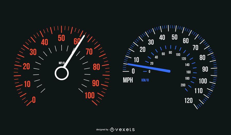 Conjunto de medidor de velocidade de carro