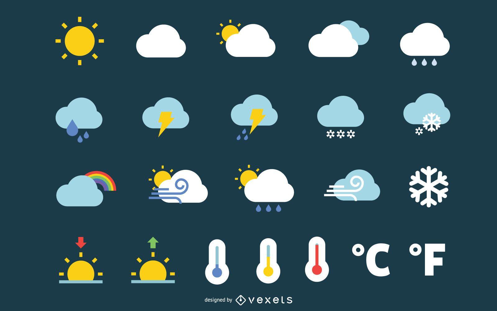 Iconos del tiempo gráfico vectorial