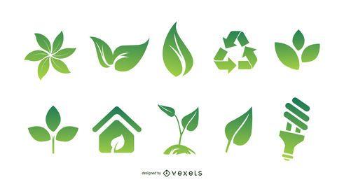 Umwelt-Icons für Bio