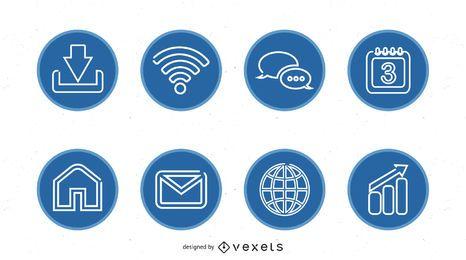 Ícone circular azul simples