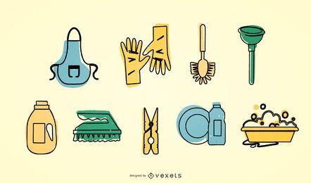 Conjunto de ícones de limpeza vector