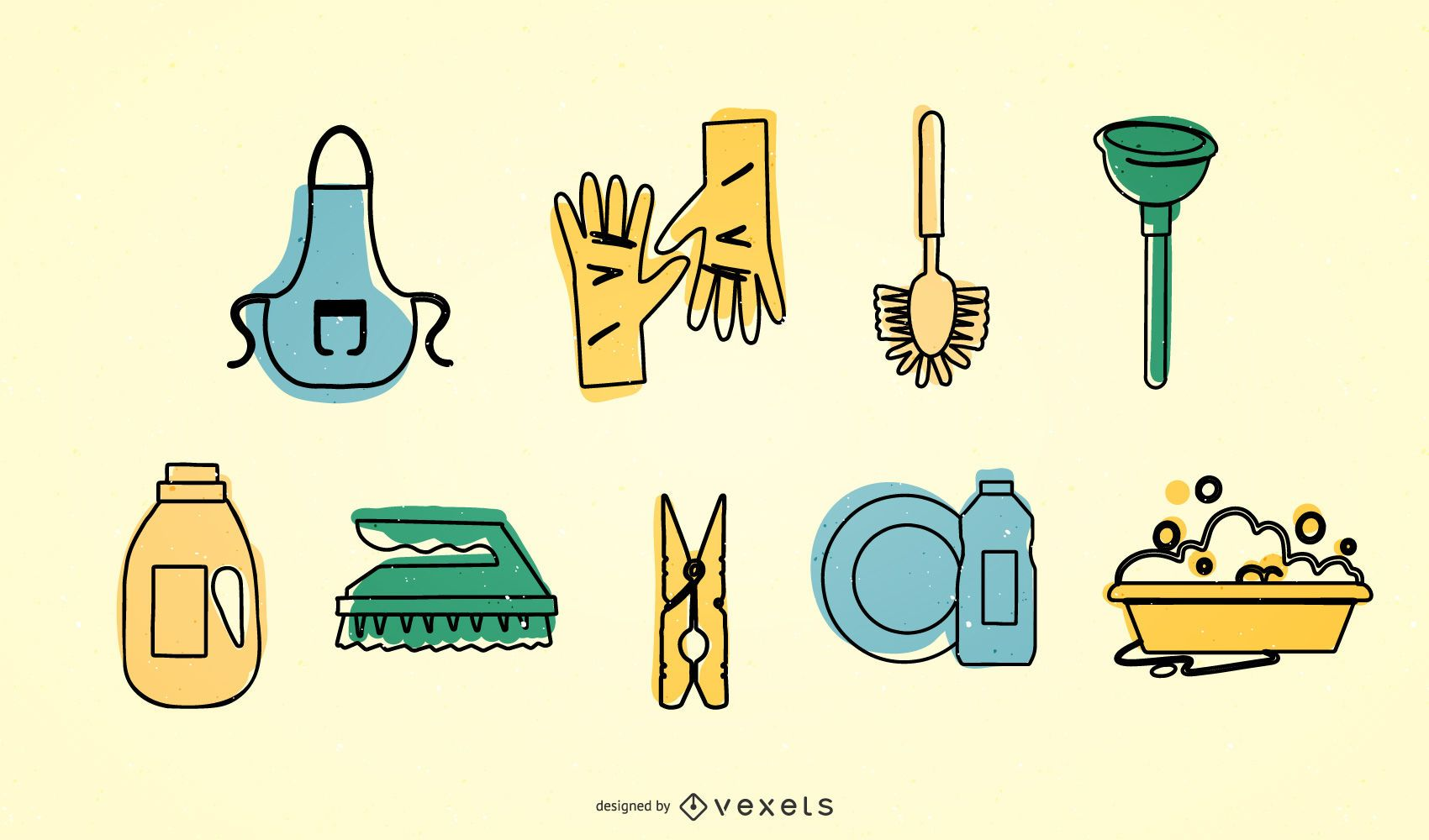 Cleaning icon vector set