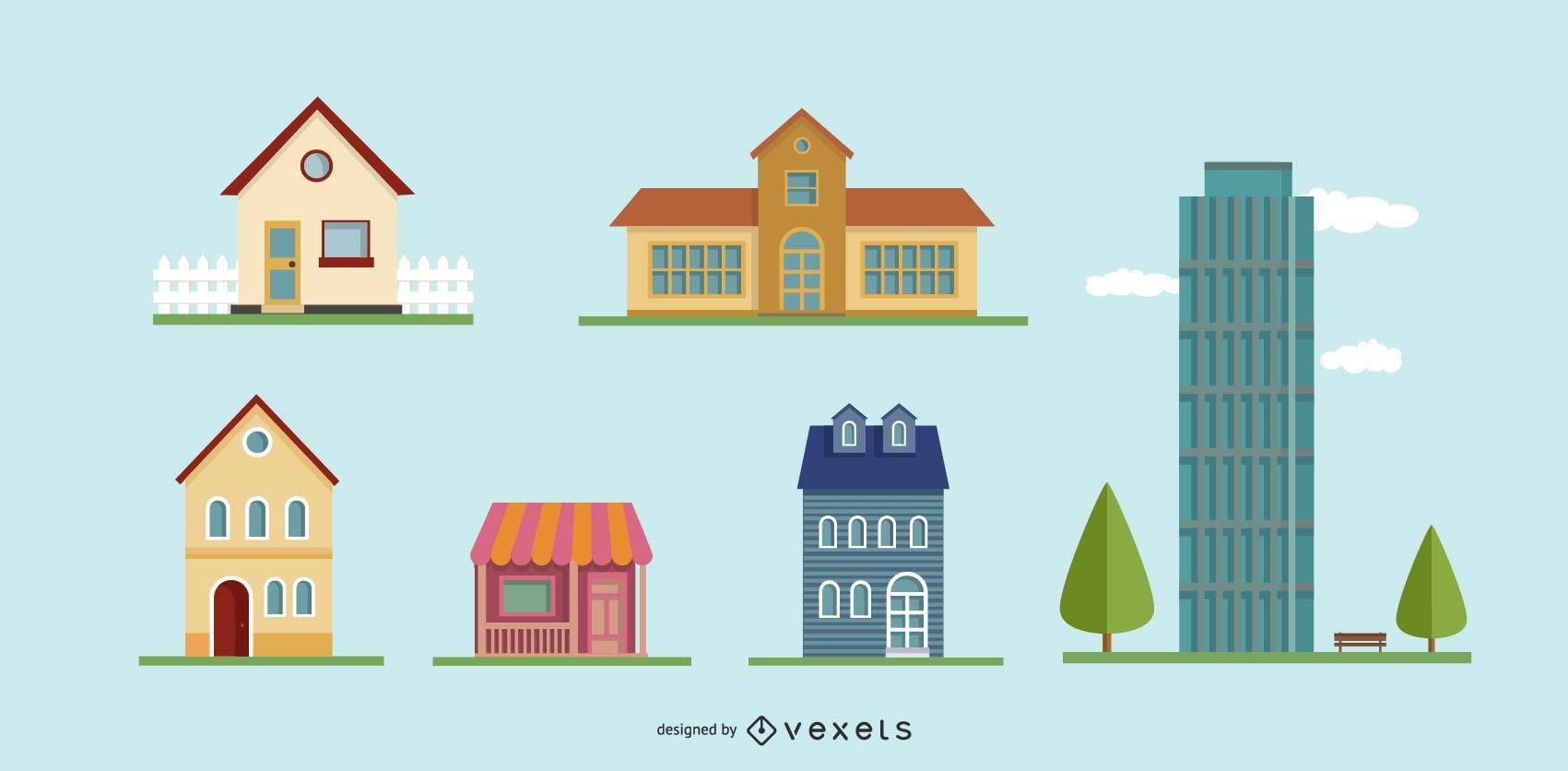 Conjunto de iconos de edificio de vector