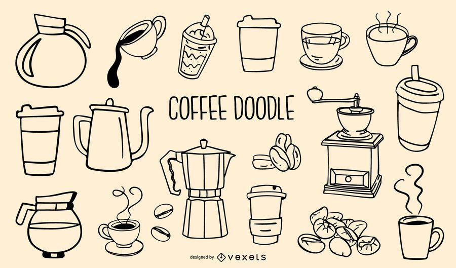 Coffee doodles collection