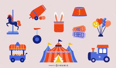 Conjunto de iconos de circo de parque infantil